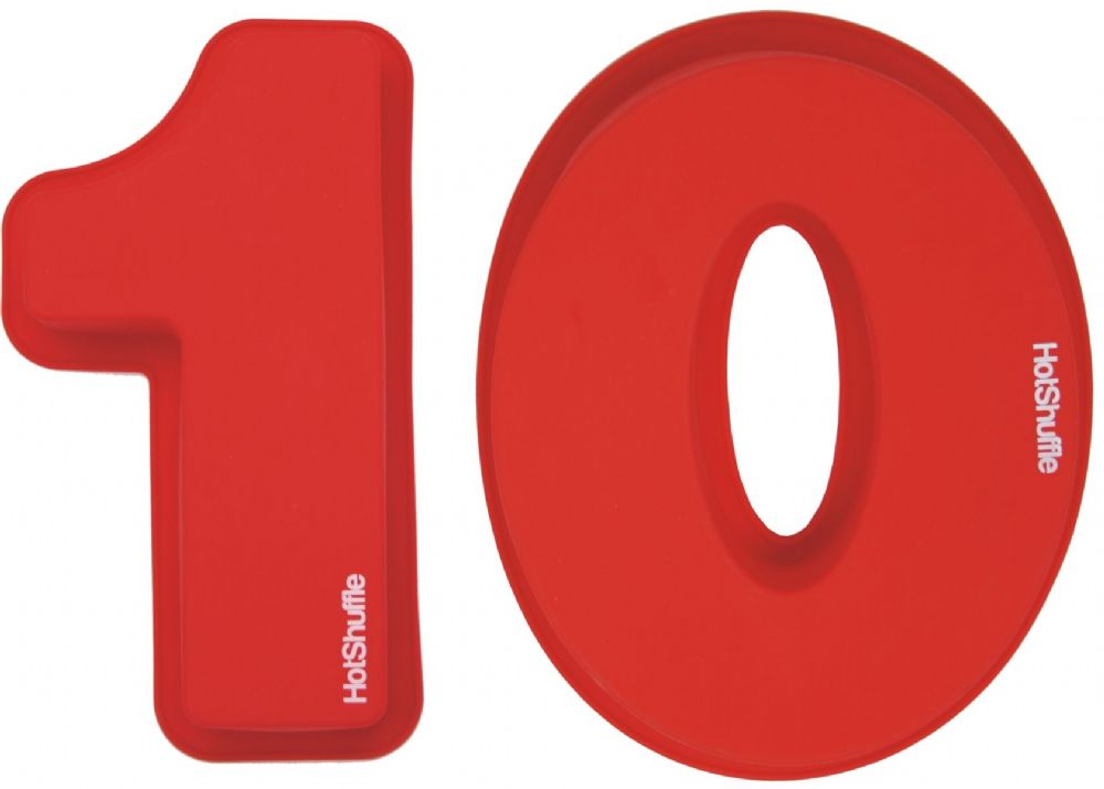 Large 30cm Silicone Number 10 10th Birthday Anniversary Cake Mould Tin Set